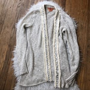 Tory Burch cream open front embellished cardigan S